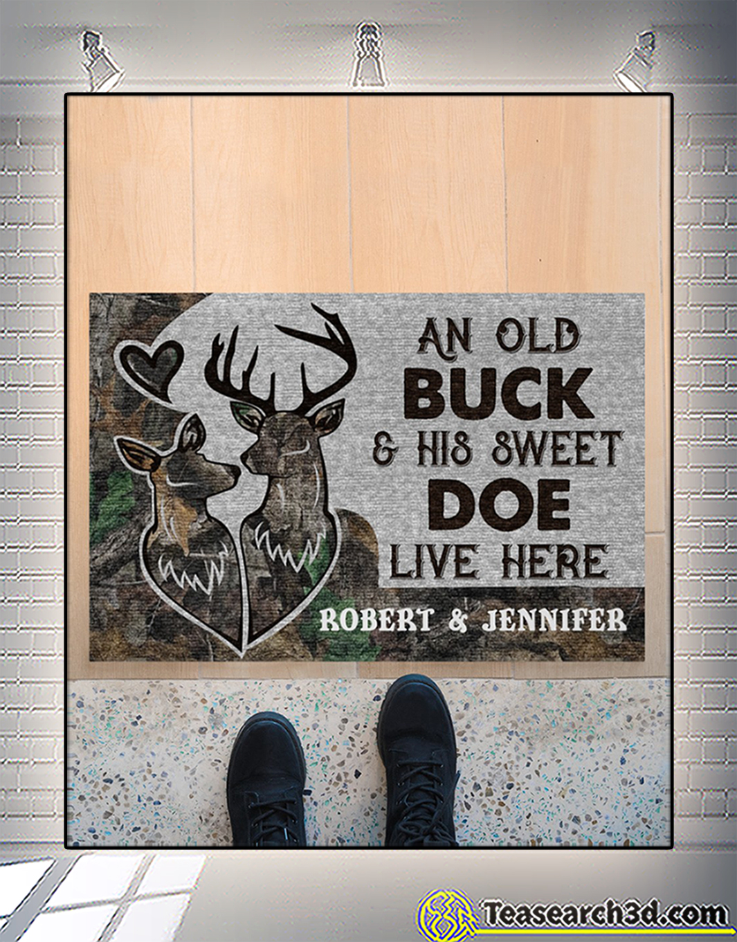 Personalized custom name an old buck and his sweet doe live here doormat 2