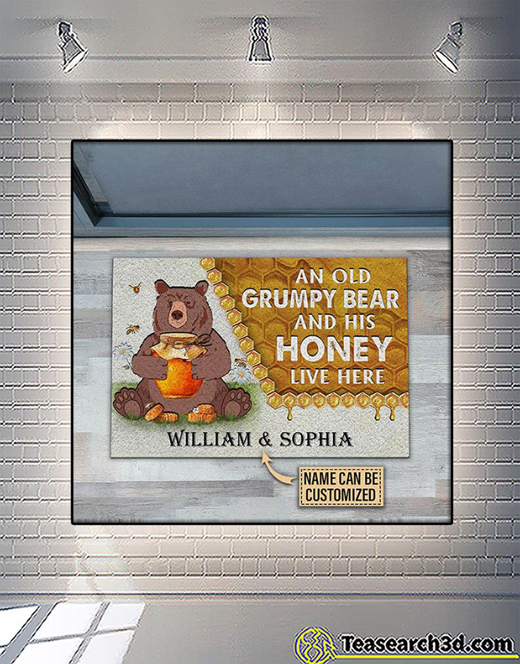 Personalized custom name an old grumpy bear and his honey live here doormat 1