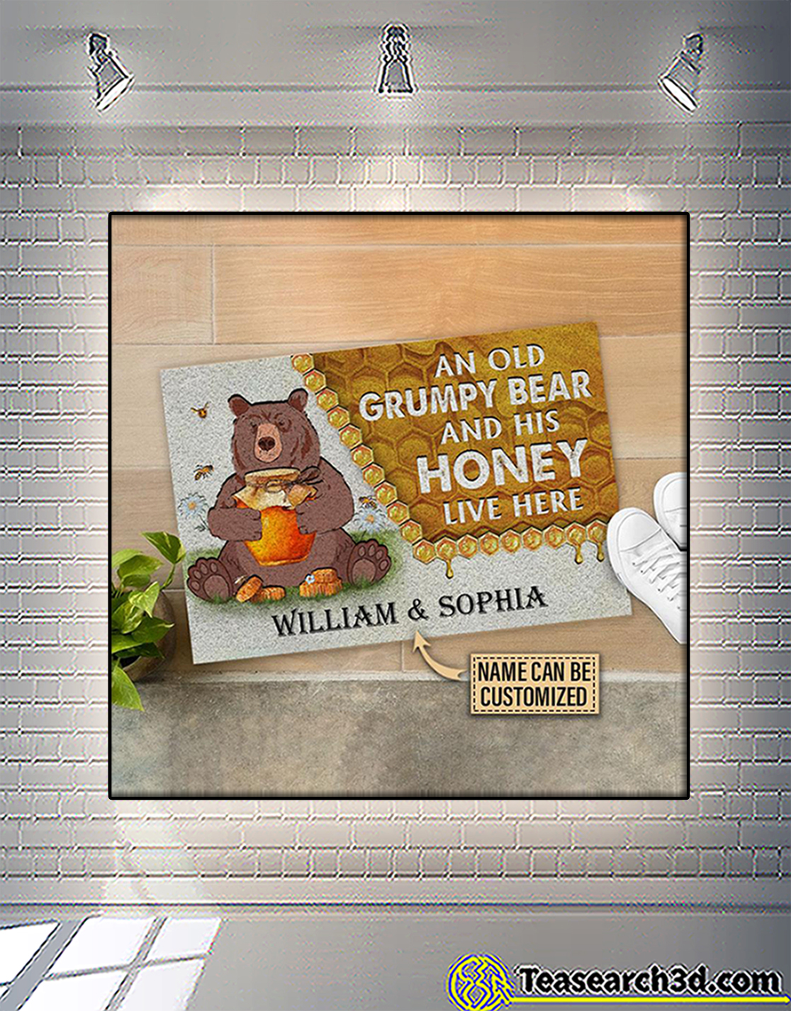 Personalized custom name an old grumpy bear and his honey live here doormat 2