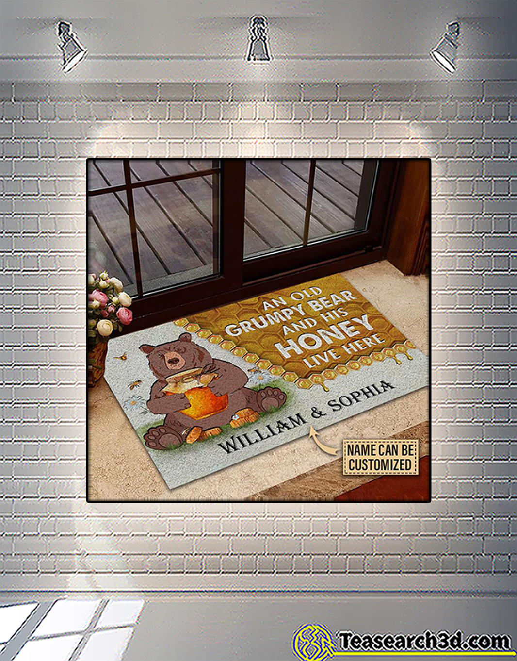 Personalized custom name an old grumpy bear and his honey live here doormat