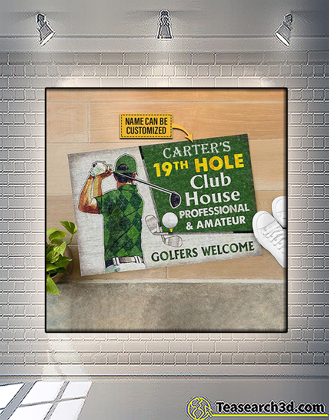 Personalized custom name golf 19th hole club house professional and amateur doormat