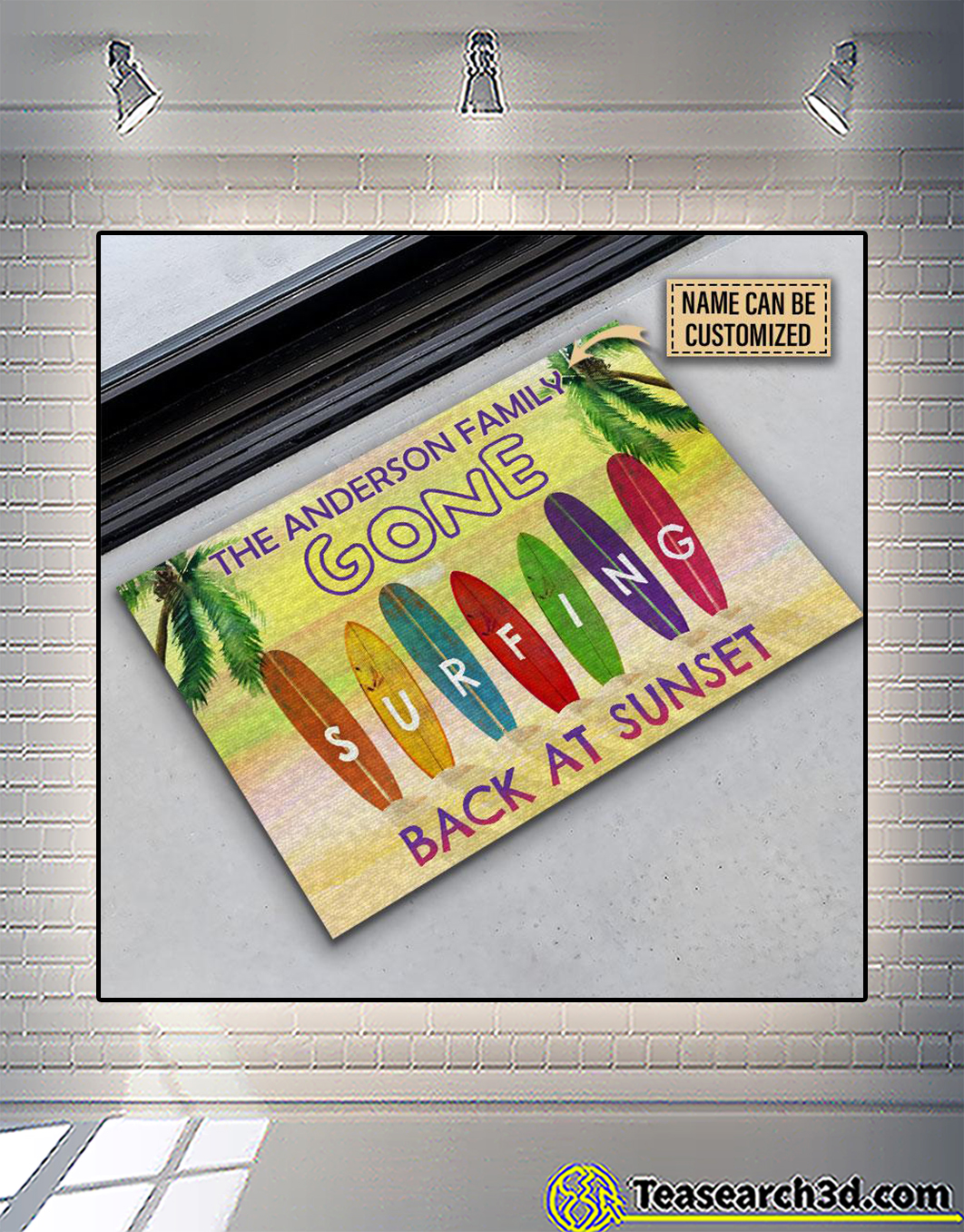 Personalized surfing back at sunset customized doormat 1
