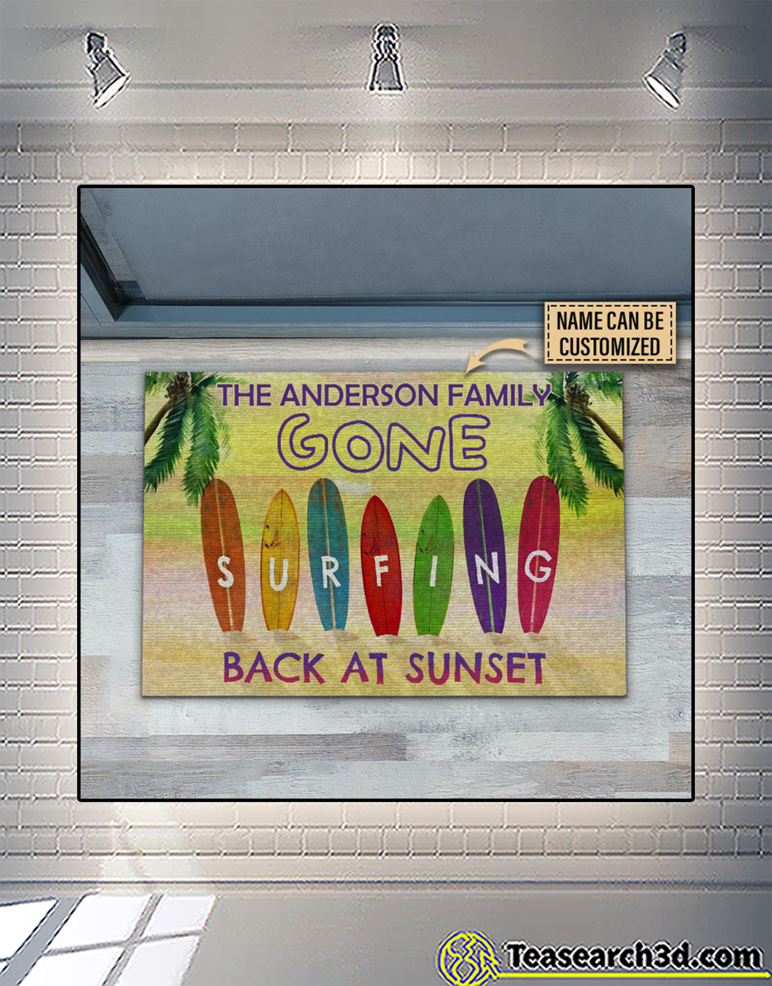 Personalized surfing back at sunset customized doormat 2
