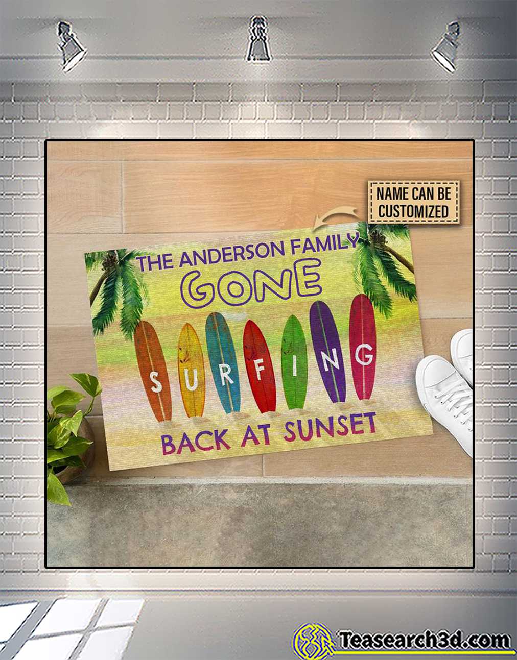 Personalized surfing back at sunset customized doormat