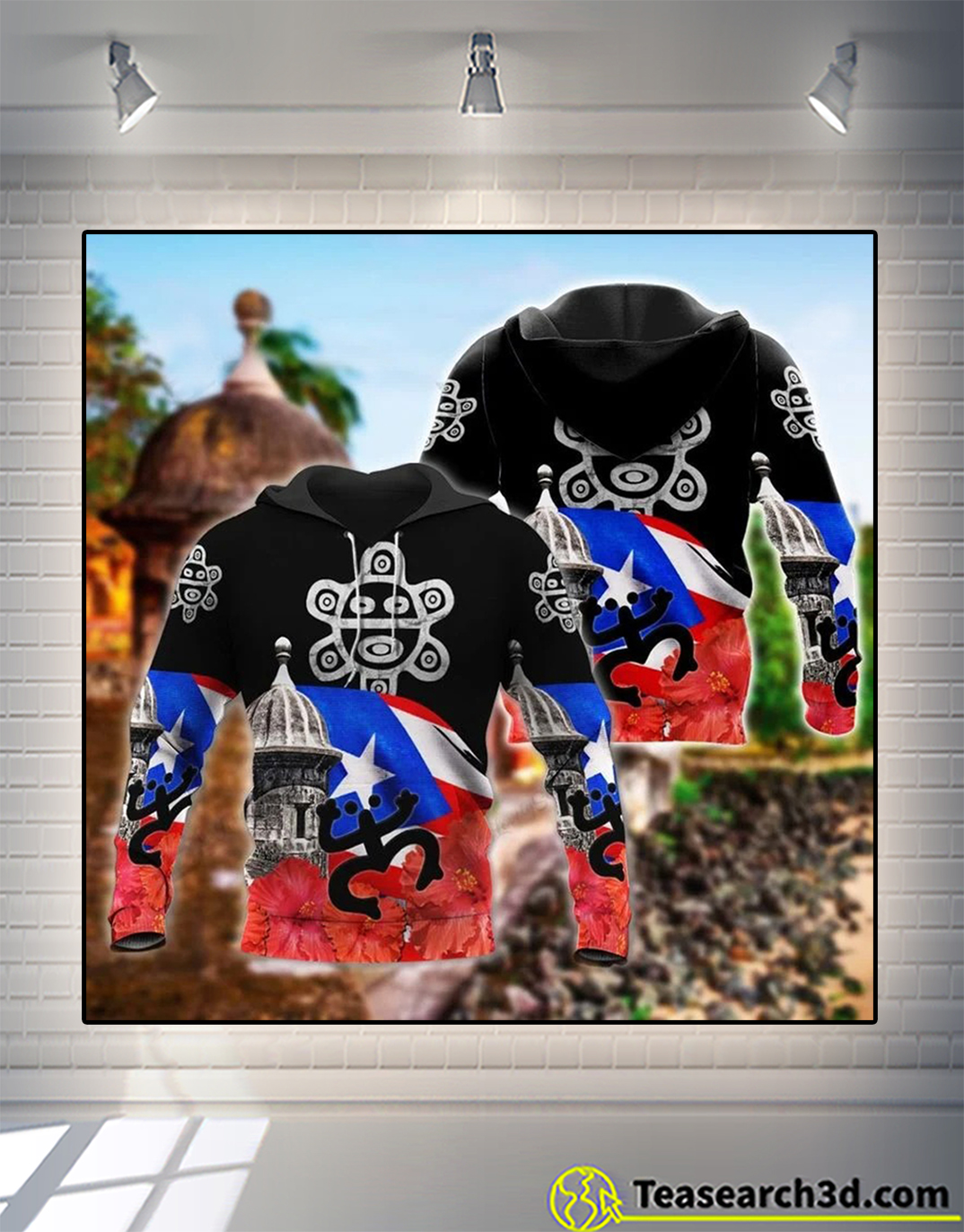 Puerto rico 3d all over printed hoodie
