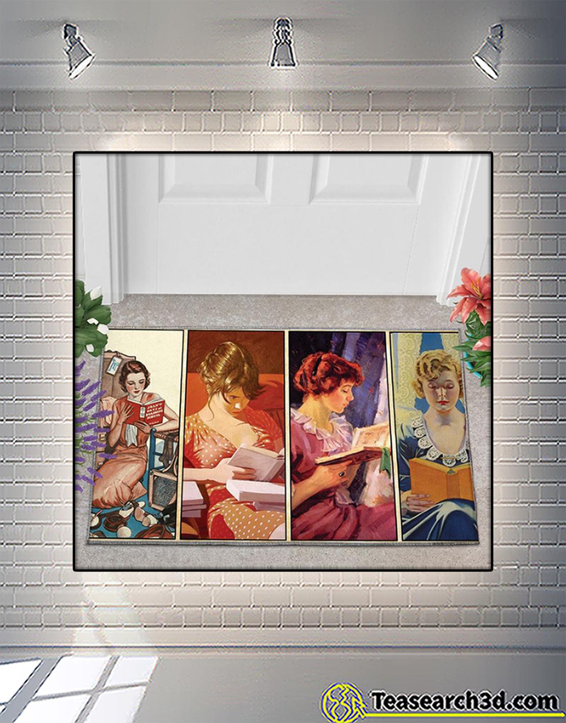 Woman loves reading doormat 2