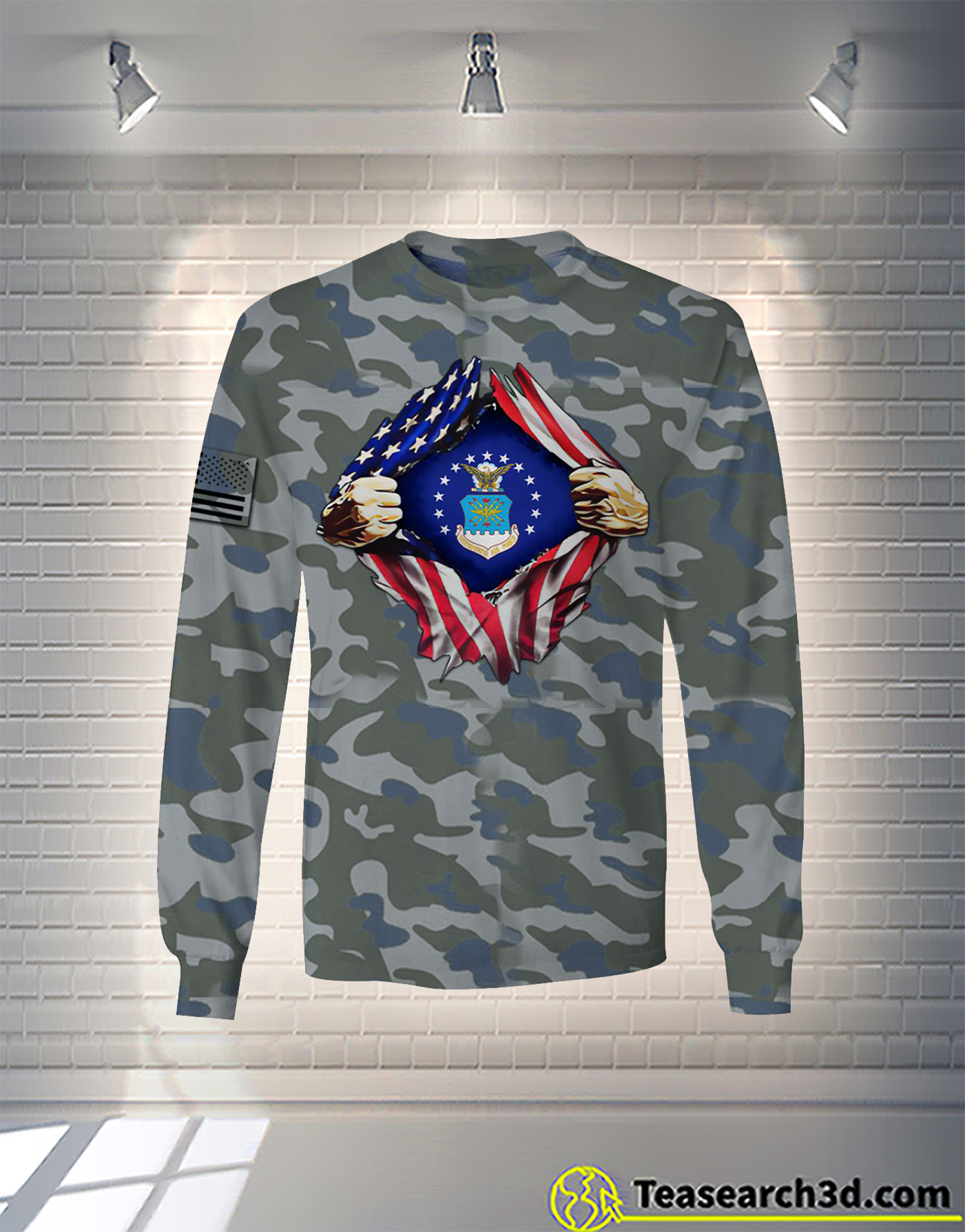 Air Force camo all over printed long sleeve