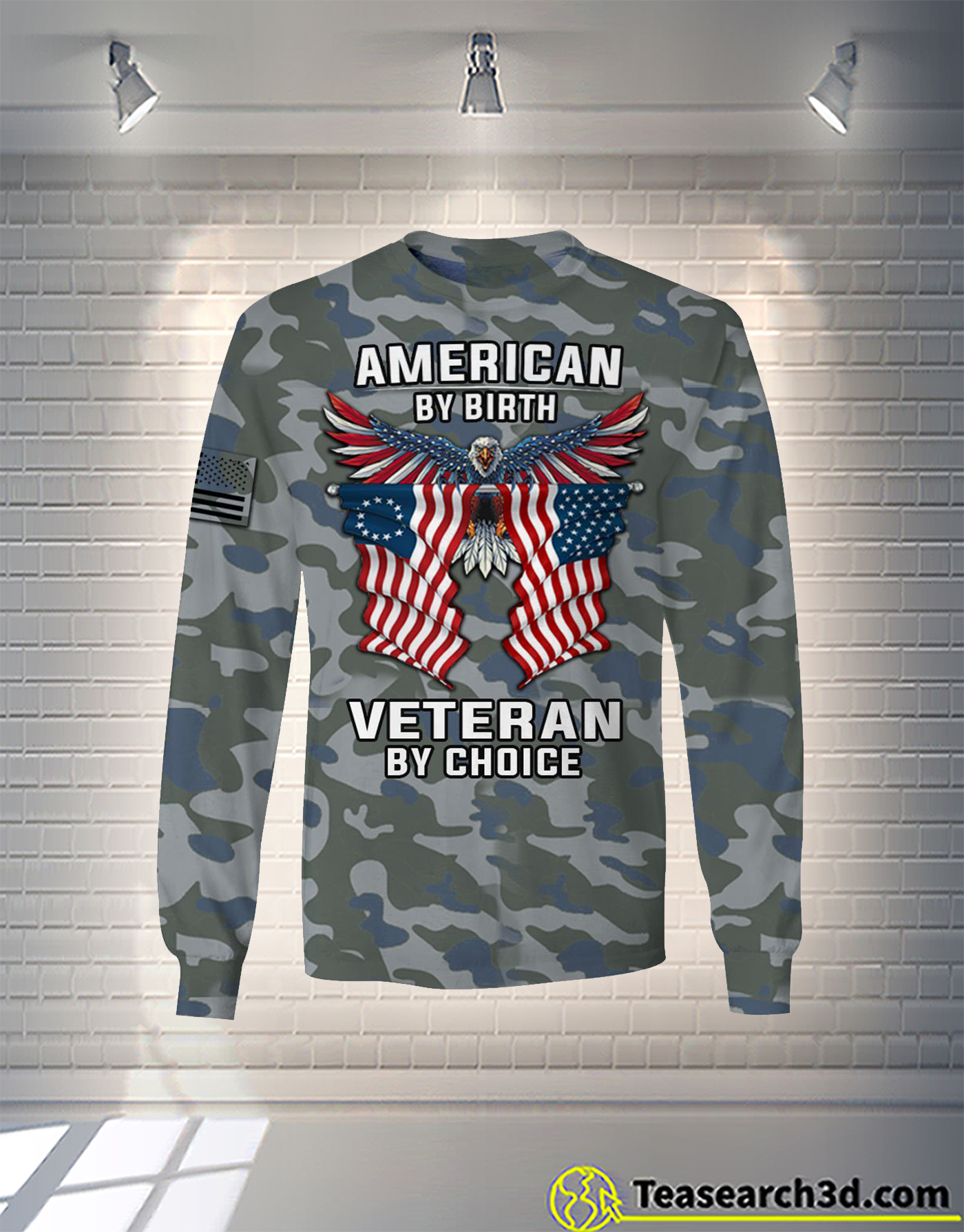 American by birth veteran by choice camo all over printed long sleeve