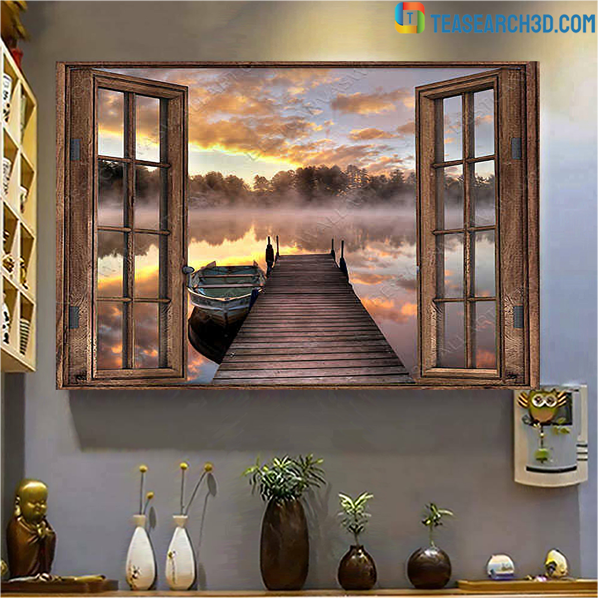 Beautiful lake through window with boat canvas large