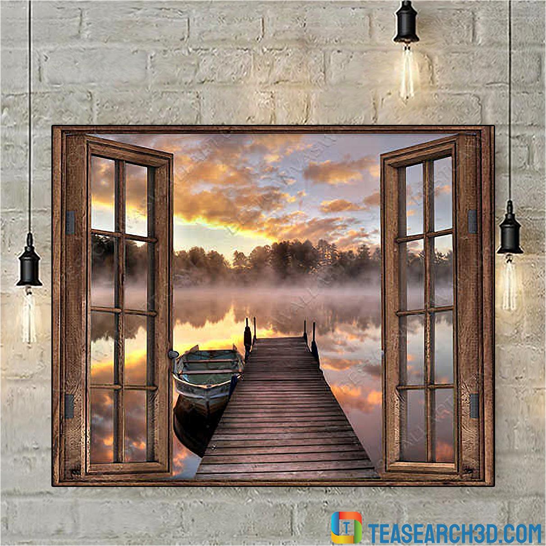 Beautiful lake through window with boat canvas medium