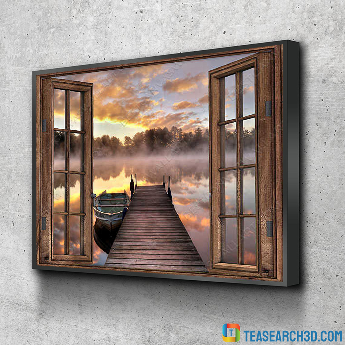 Beautiful lake through window with boat canvas small
