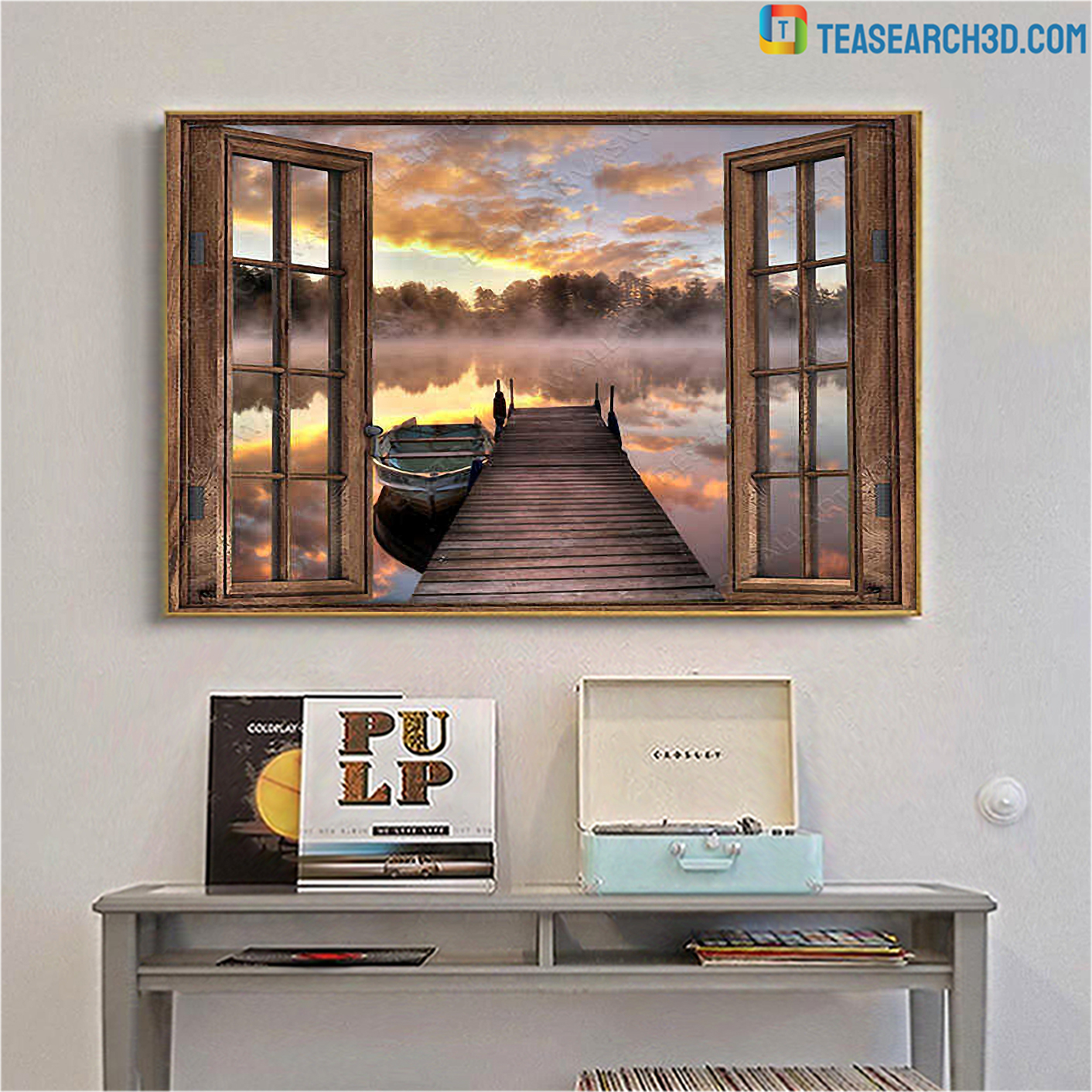 Beautiful lake through window with boat canvas