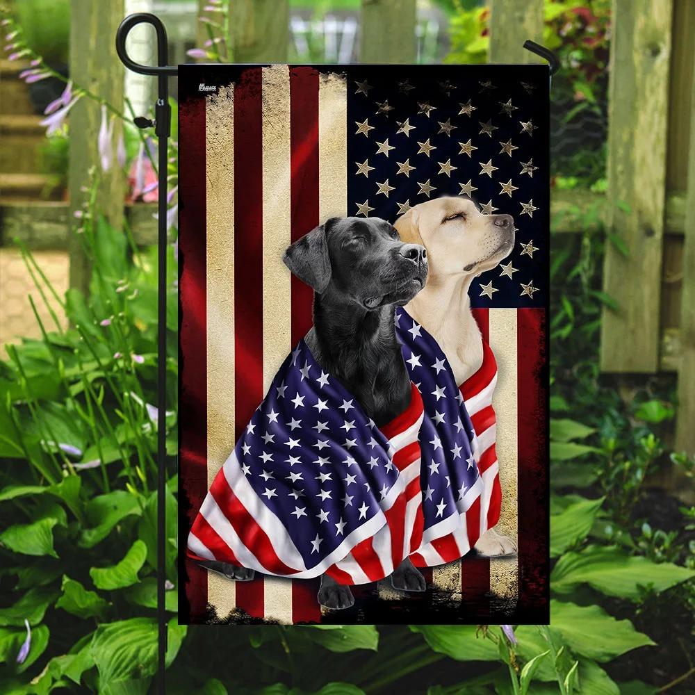 Black and yellow labrador retriever american patriot flag 3