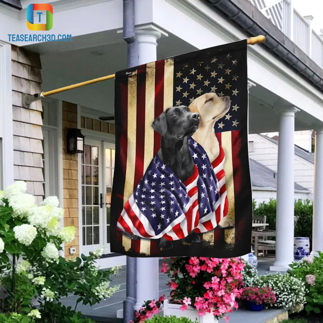 Black and yellow labrador retriever american patriot flag