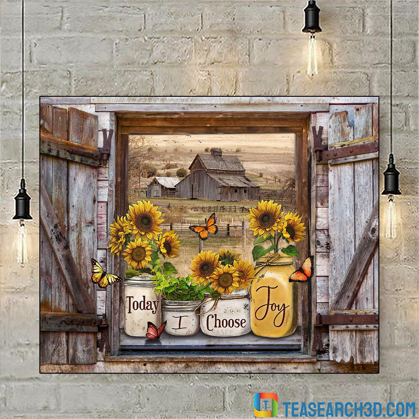 Butterflies sunflower mason jars on rustic window sill barn view today I choose joy canvas small