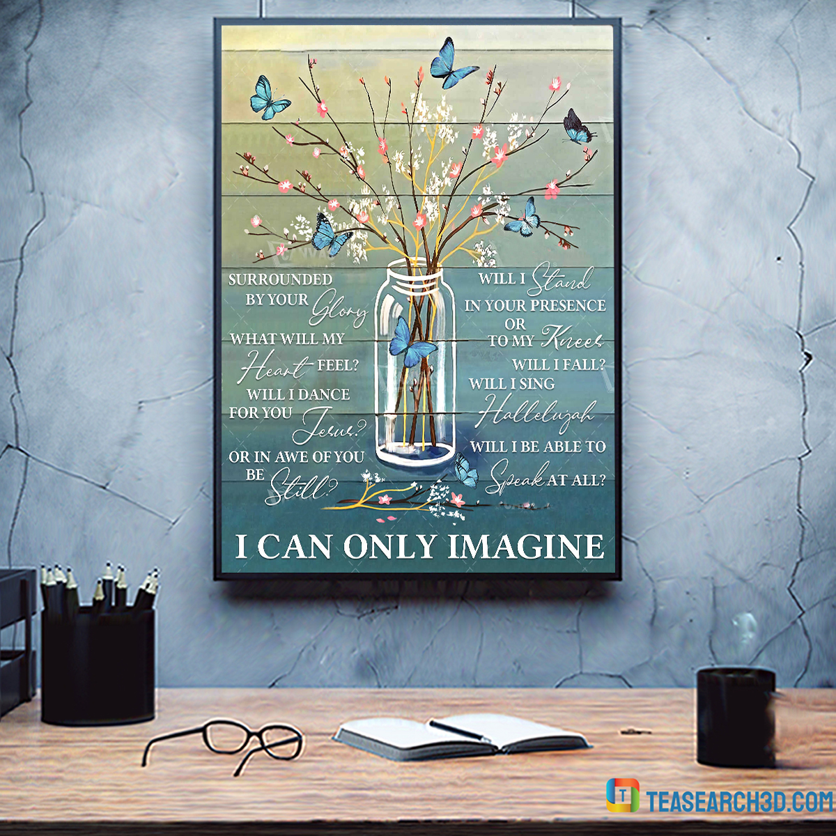 Butterfly I can only imagine canvas prints wall art floral decor medium