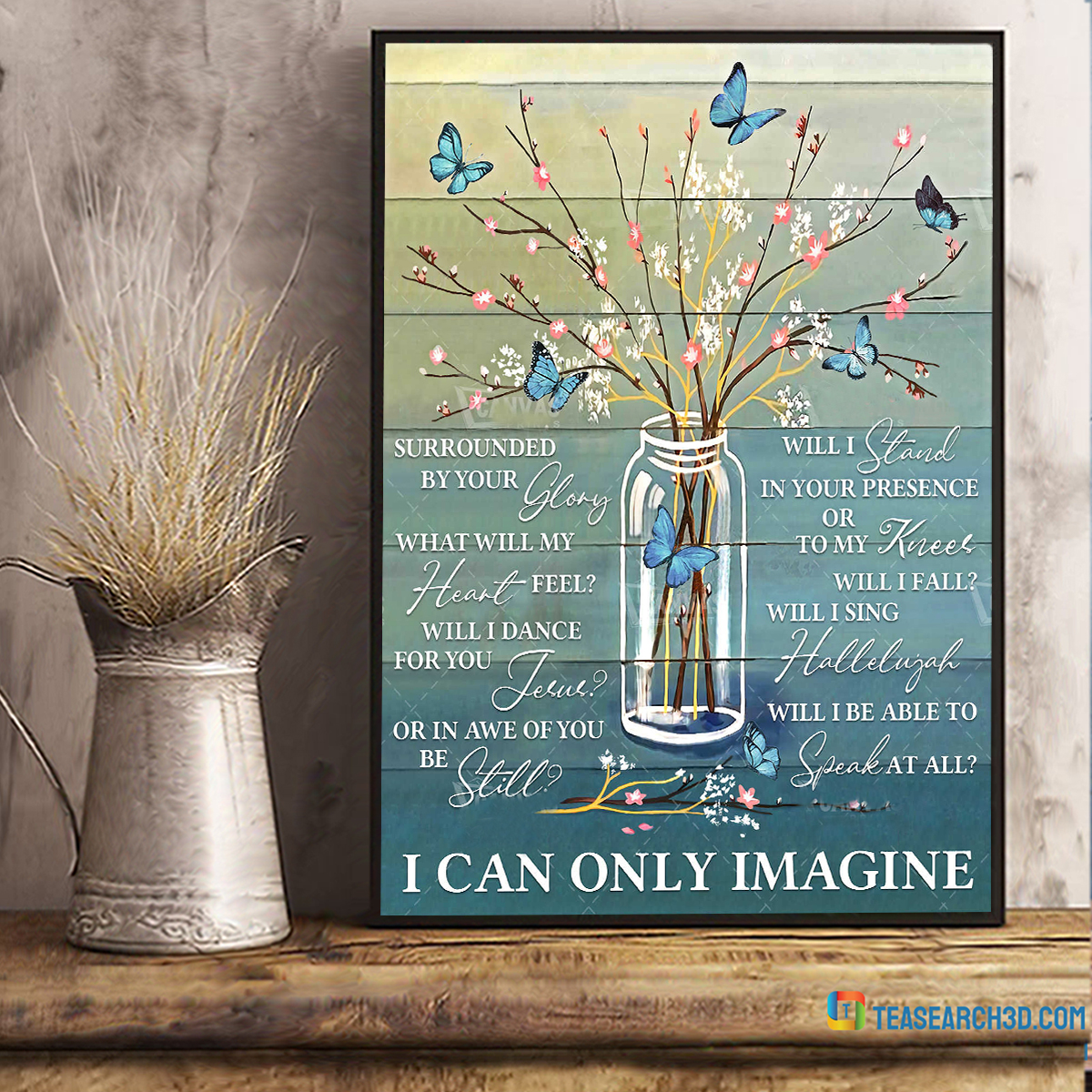 Butterfly I can only imagine canvas prints wall art floral decor small