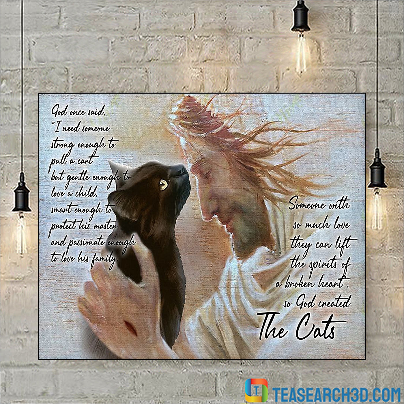 Cat god once said I need someone strong enough poster A2