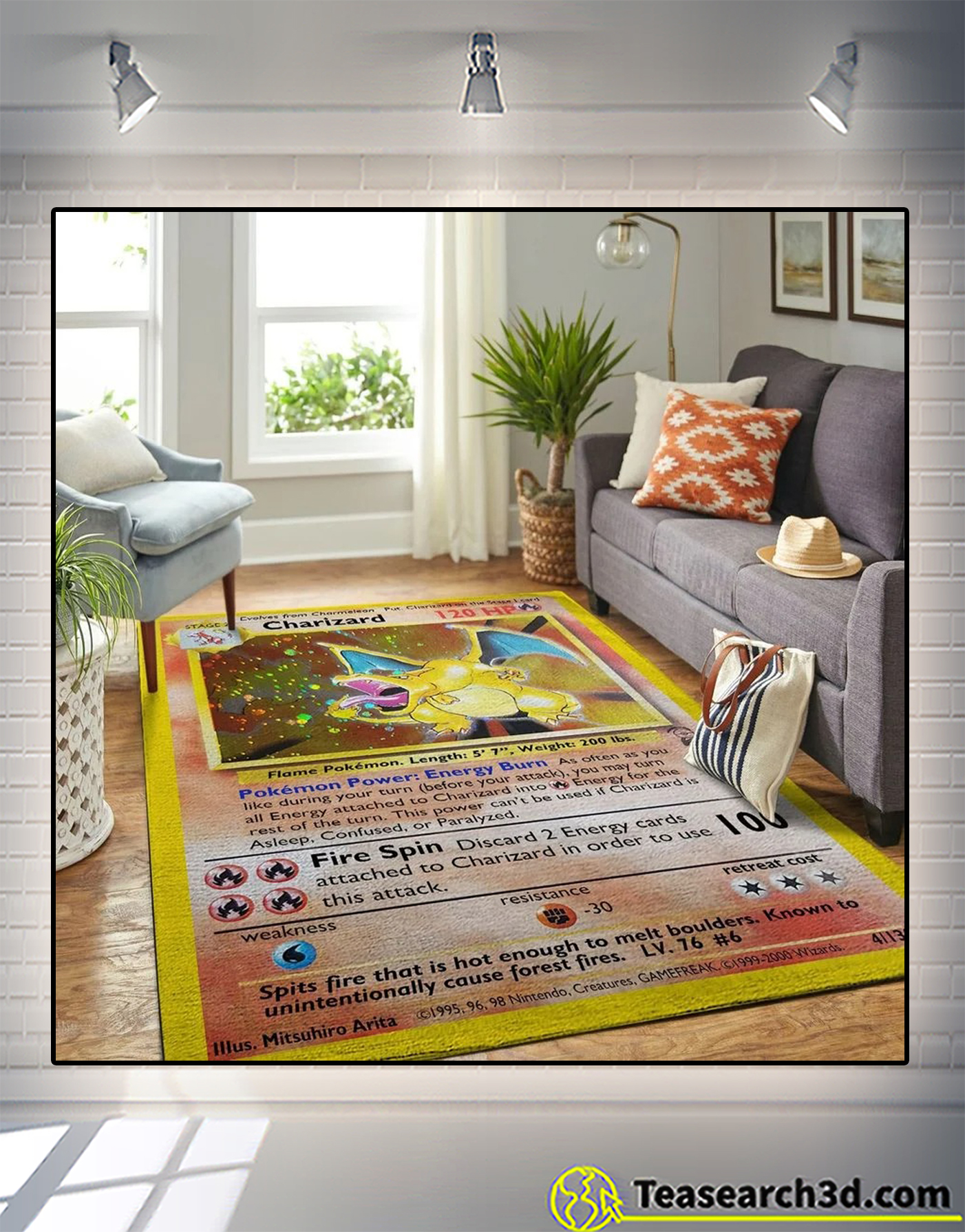 Charizard pokemon card rug 2