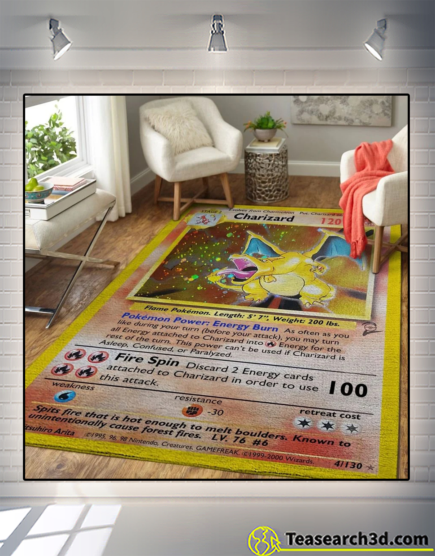 Charizard pokemon card rug