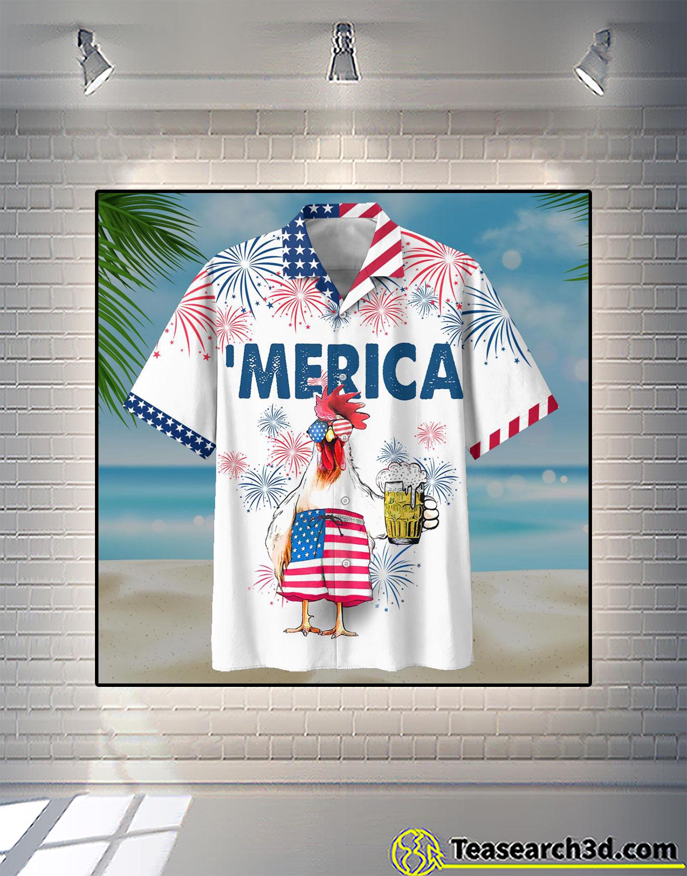 Chicken beer merica hawaiian shirt