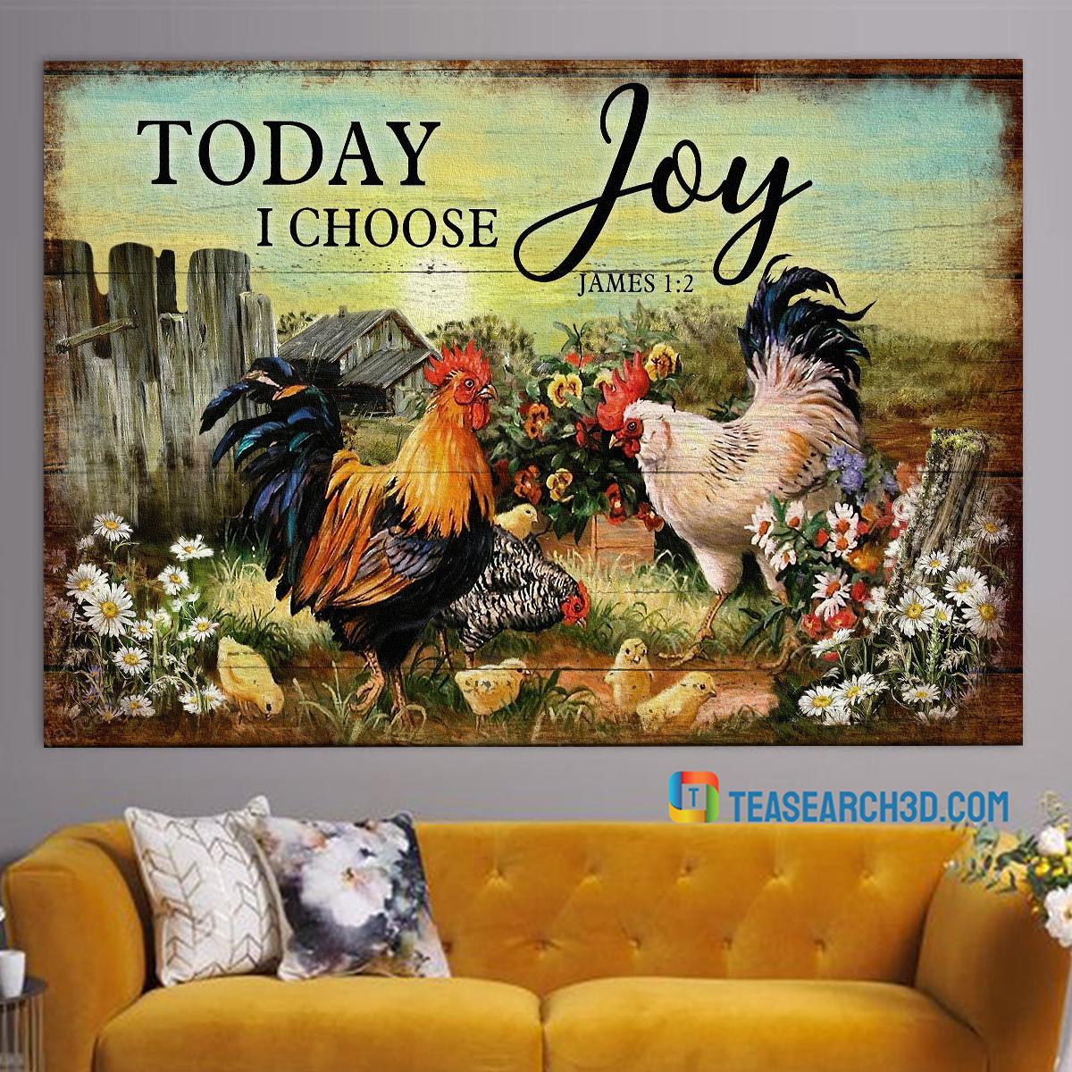 Chicken family on farm today I choose joy jesus canvas large