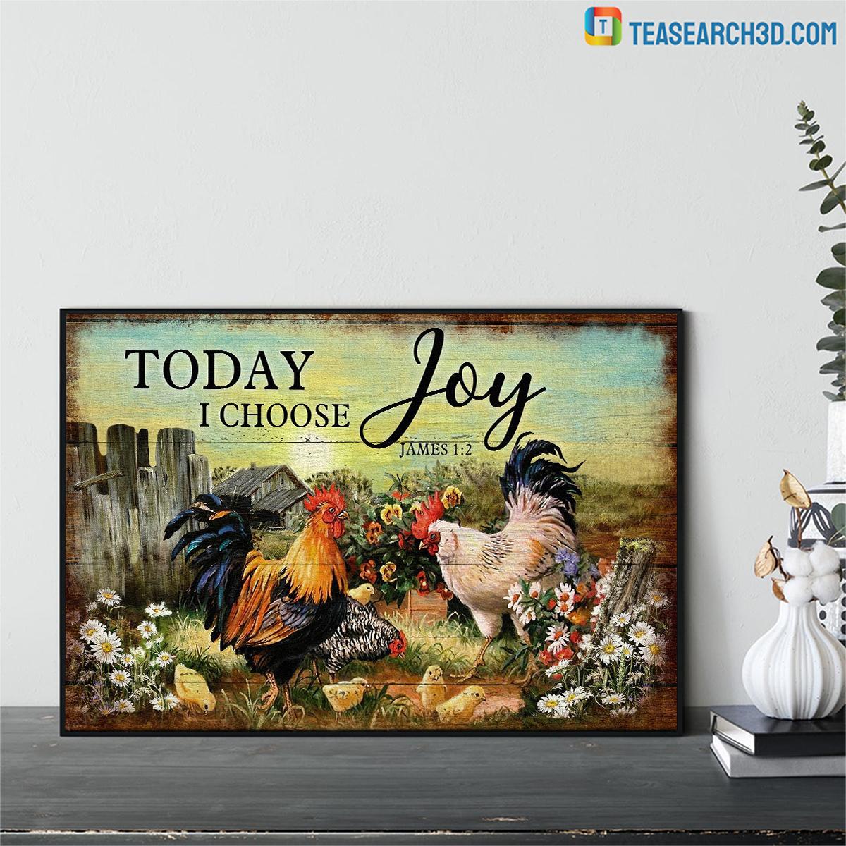 Chicken family on farm today I choose joy jesus canvas medium