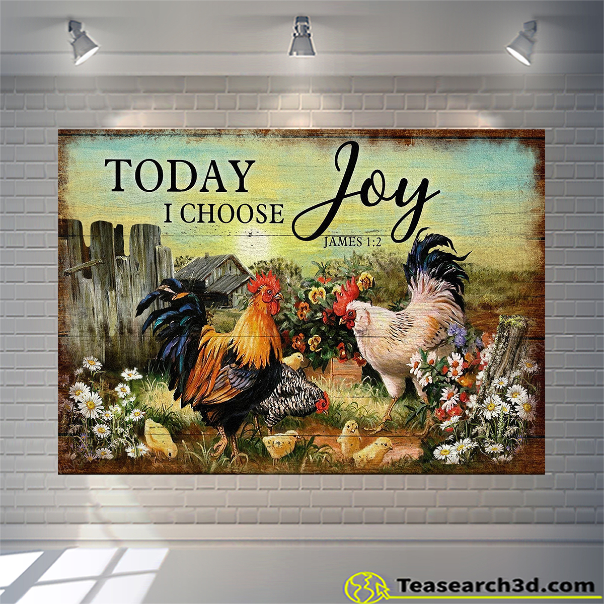 Chicken family on farm today I choose joy jesus canvas small