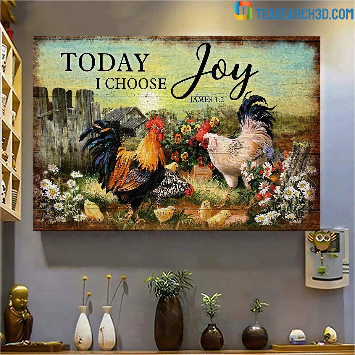 Chicken family on farm today I choose joy jesus canvas