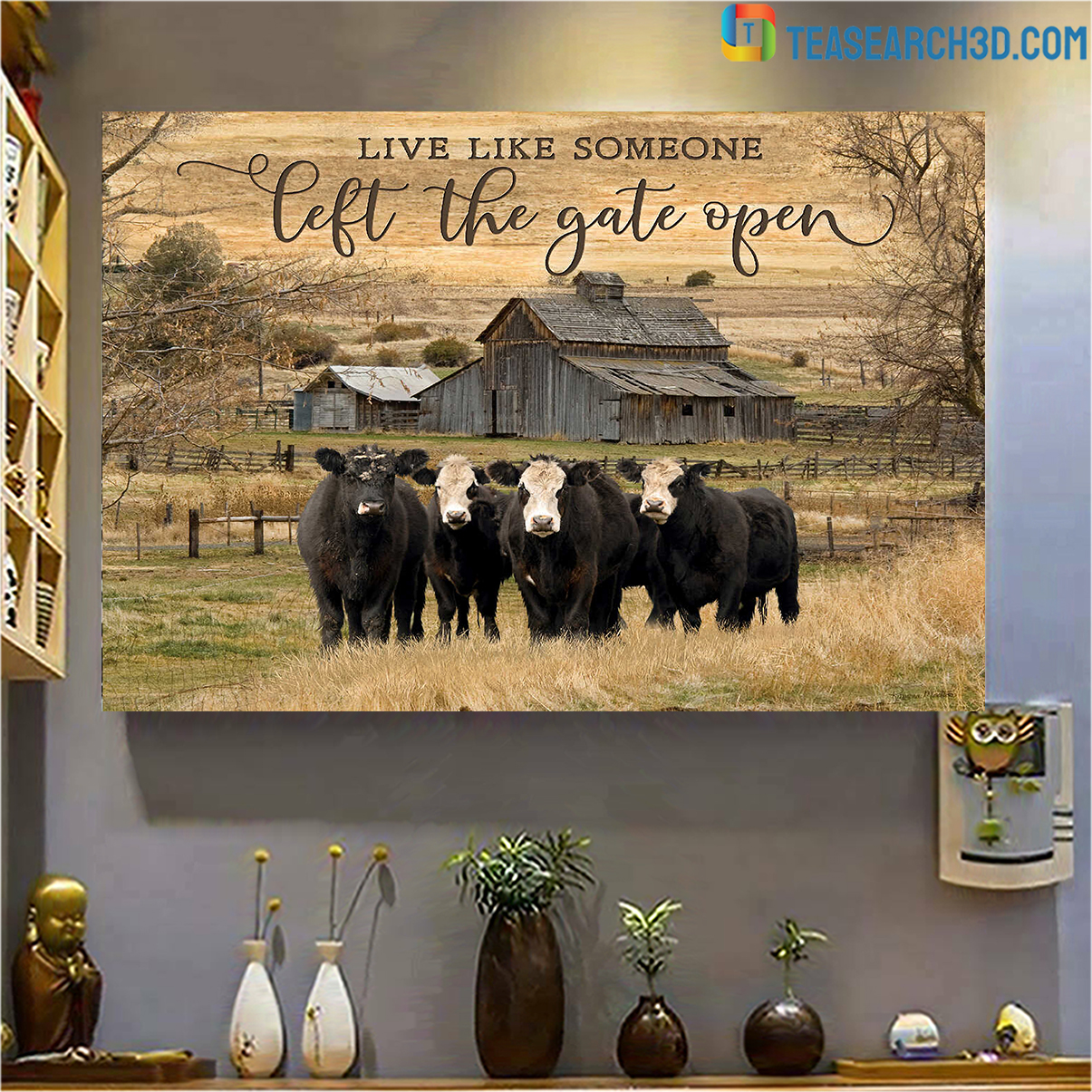 Cows live like someone left the gate open canvas prints large