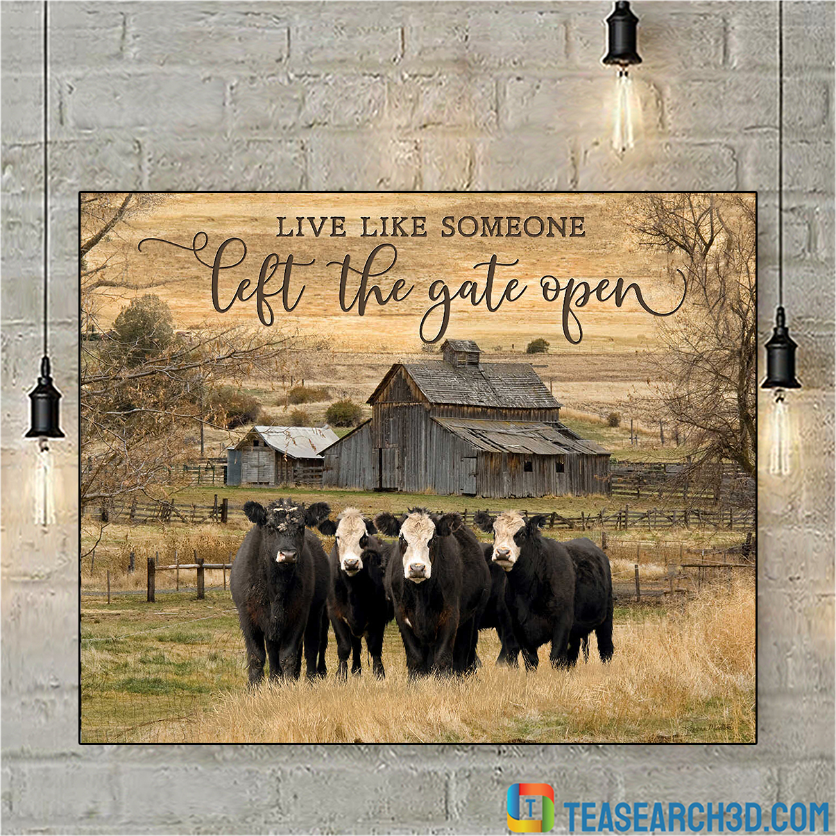 Cows live like someone left the gate open canvas prints medium