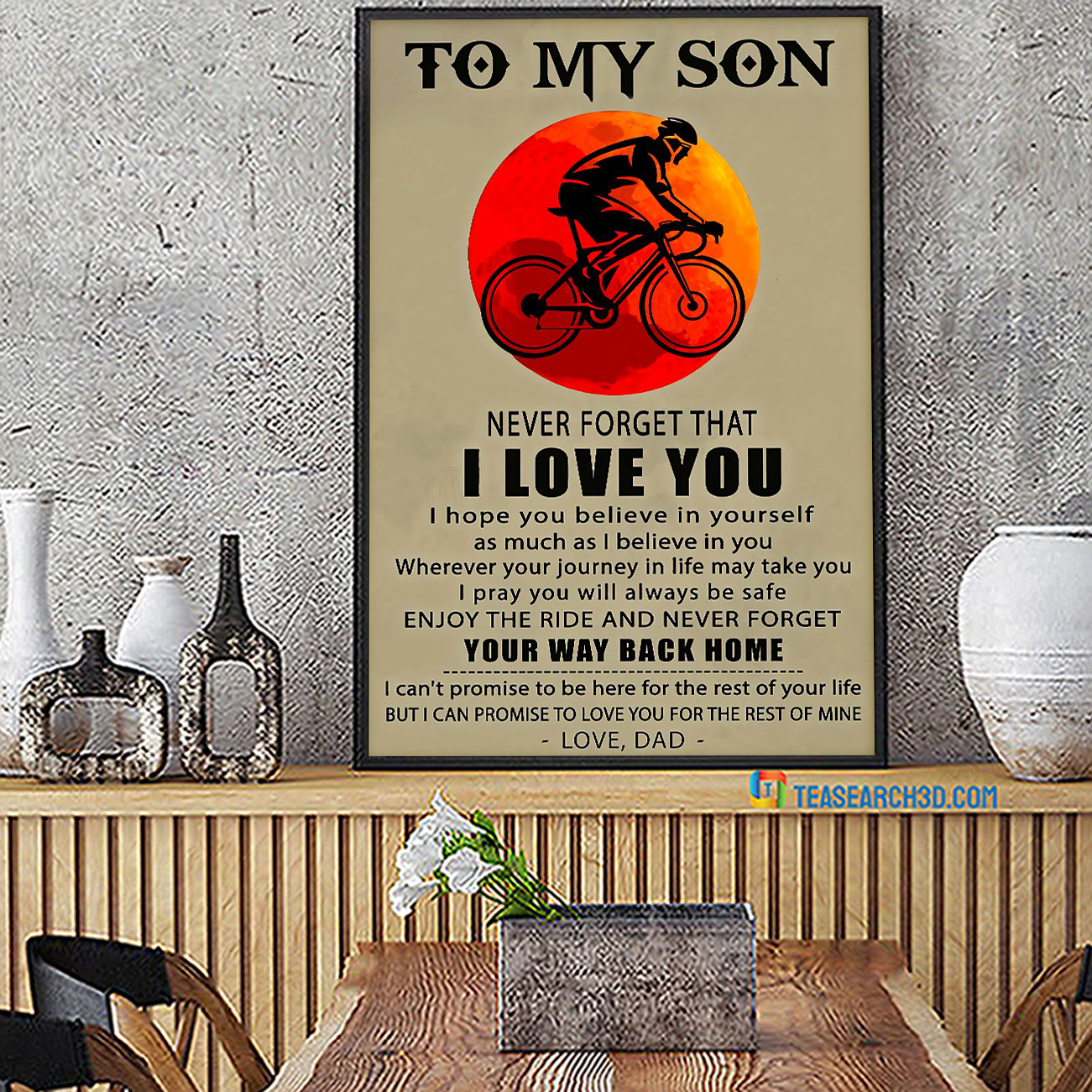 Cycling to my son never forget that I love you poster A2