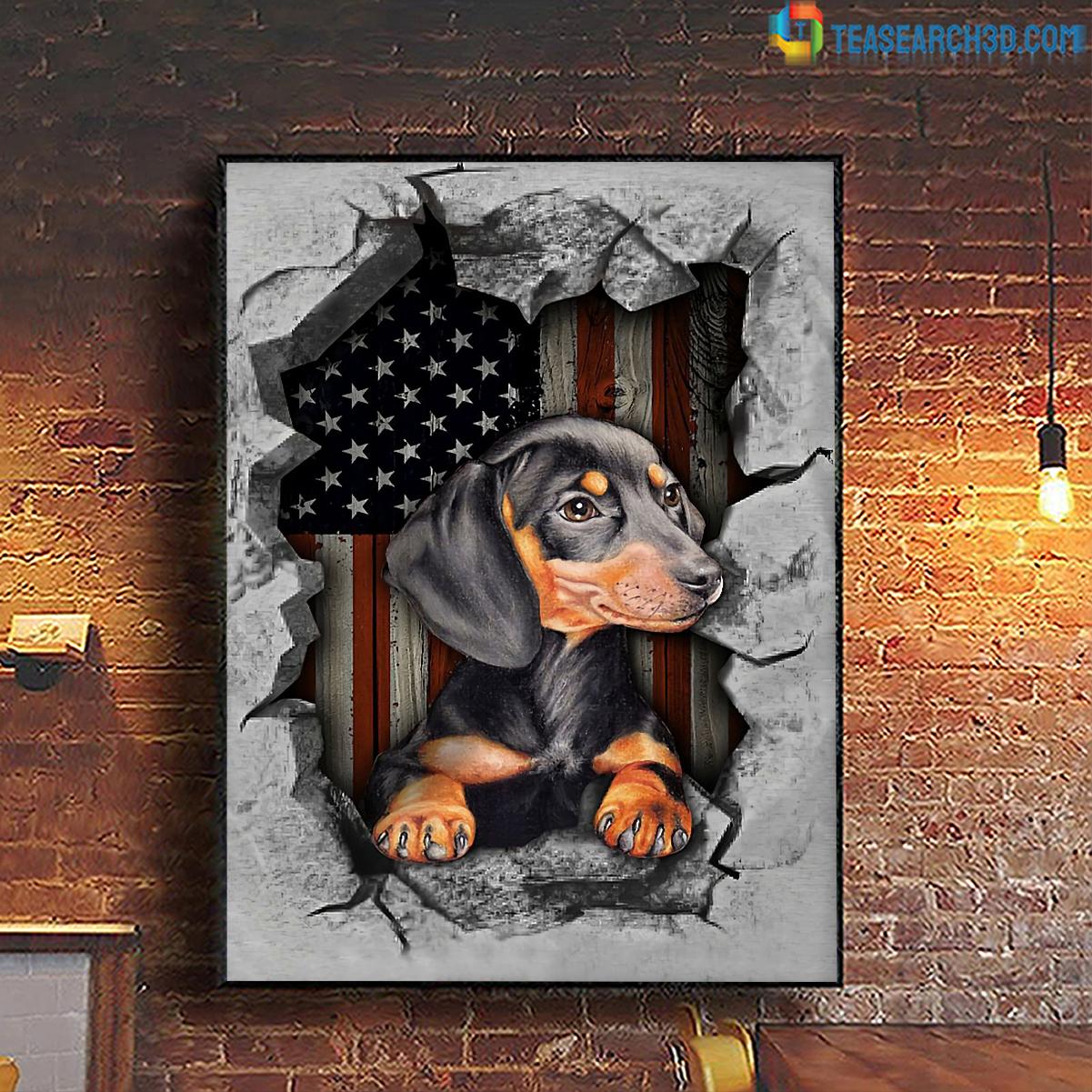 Dachshund inside american flag poster A2