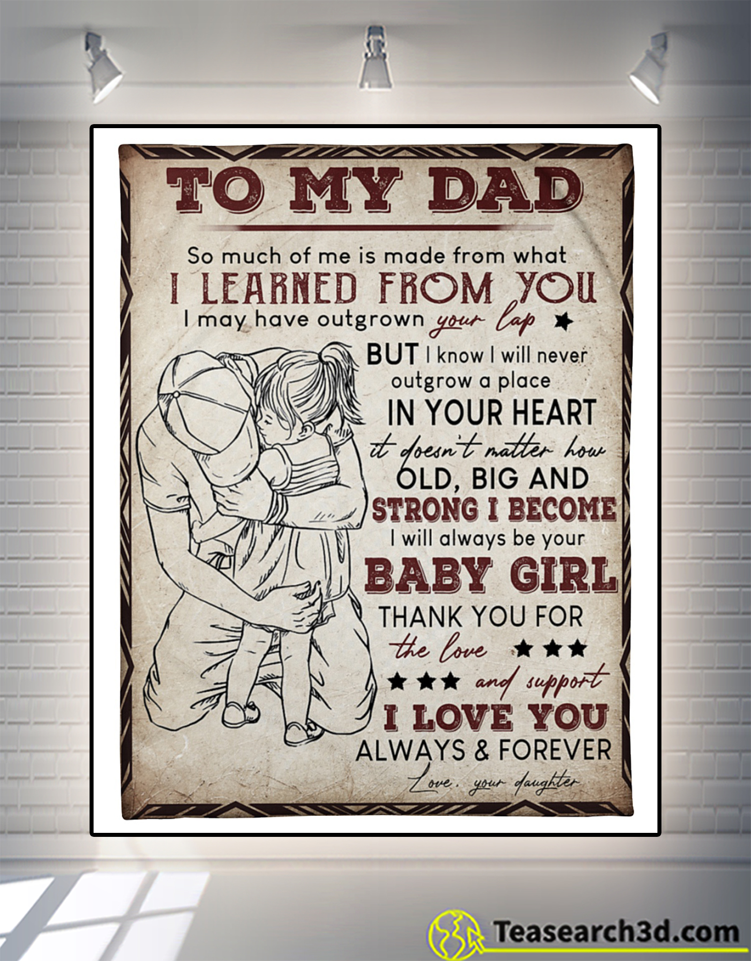 Dad hugging Daughter To my dad so much of me is made from fleece blanket