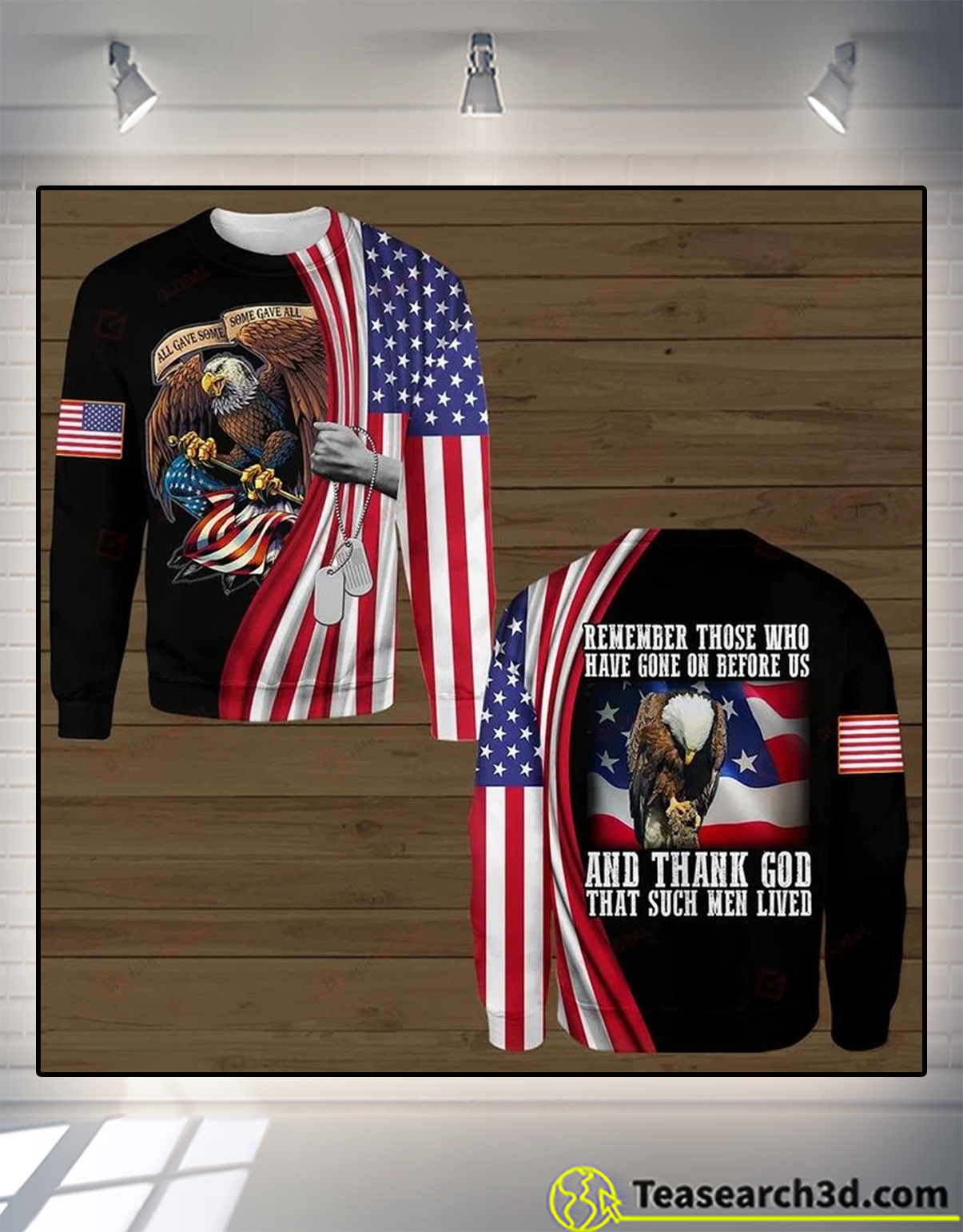 Eagle remember those who have gone on before us and thank god 3d all over printed sweatshirt