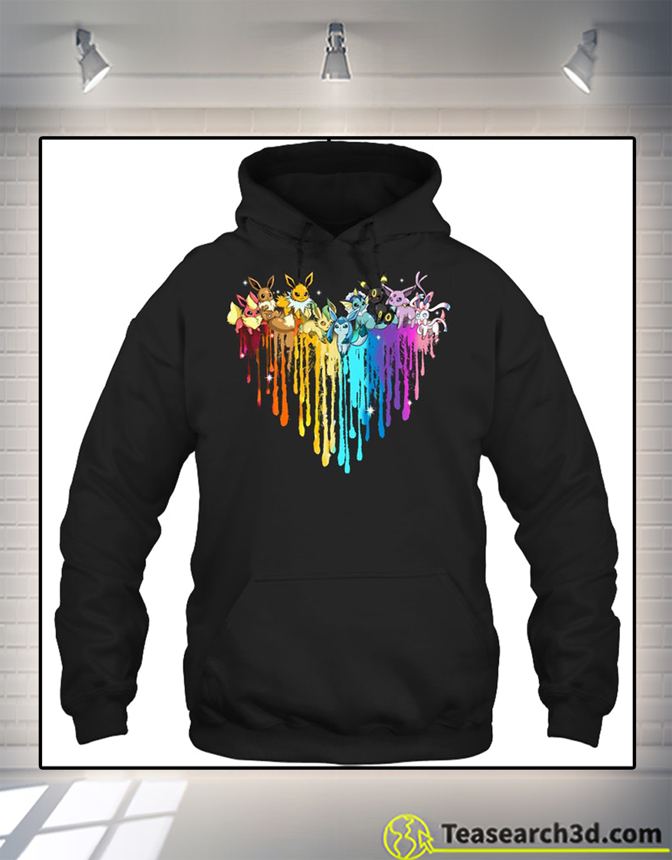 Eeveelution heart color hoodie