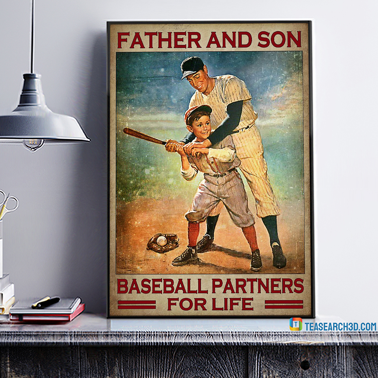 Father and son baseball partners for life poster A1