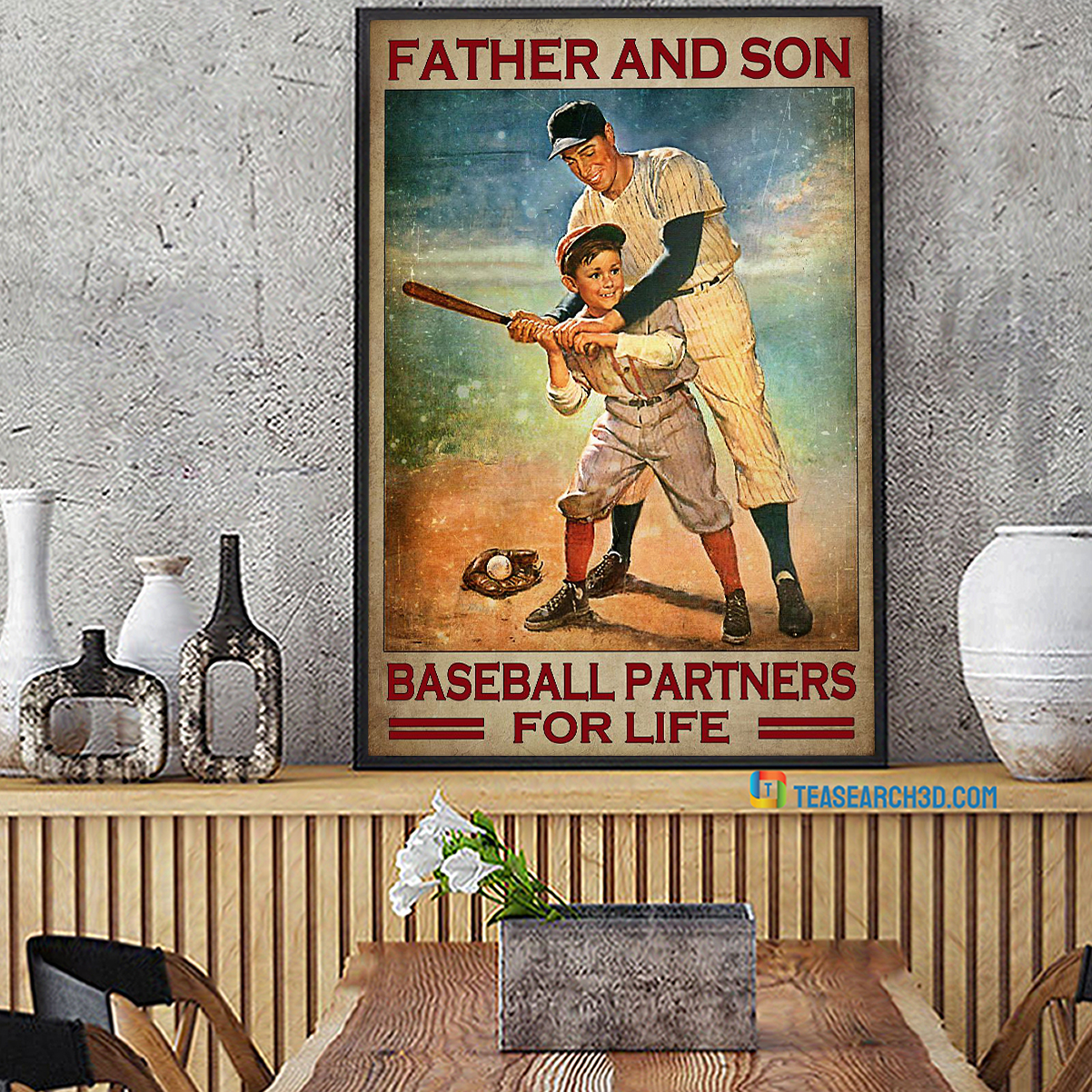 Father and son baseball partners for life poster A2