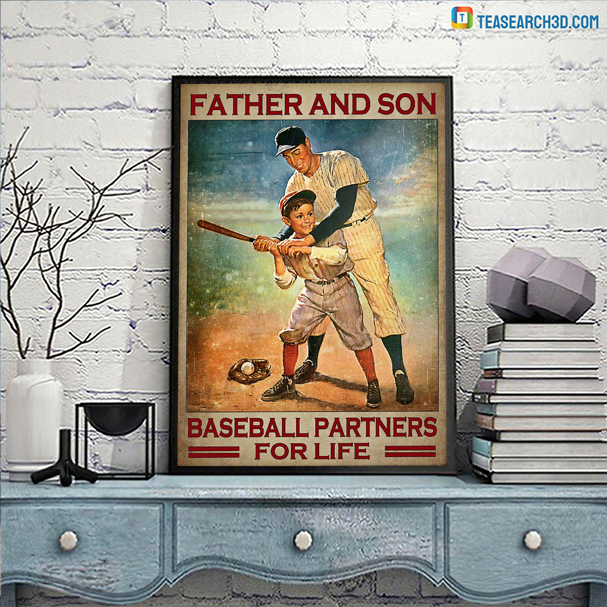 Father and son baseball partners for life poster A3