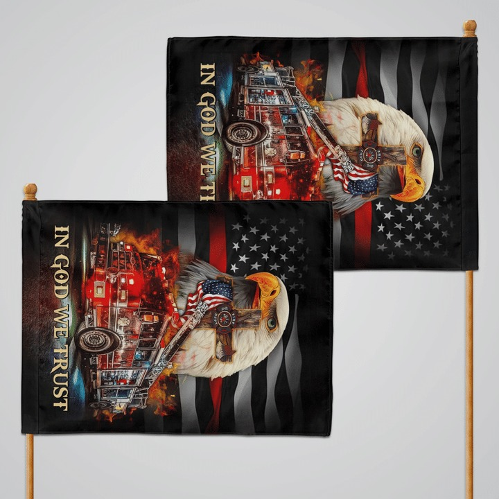 Fire truck american patriot in god we trust flag 1