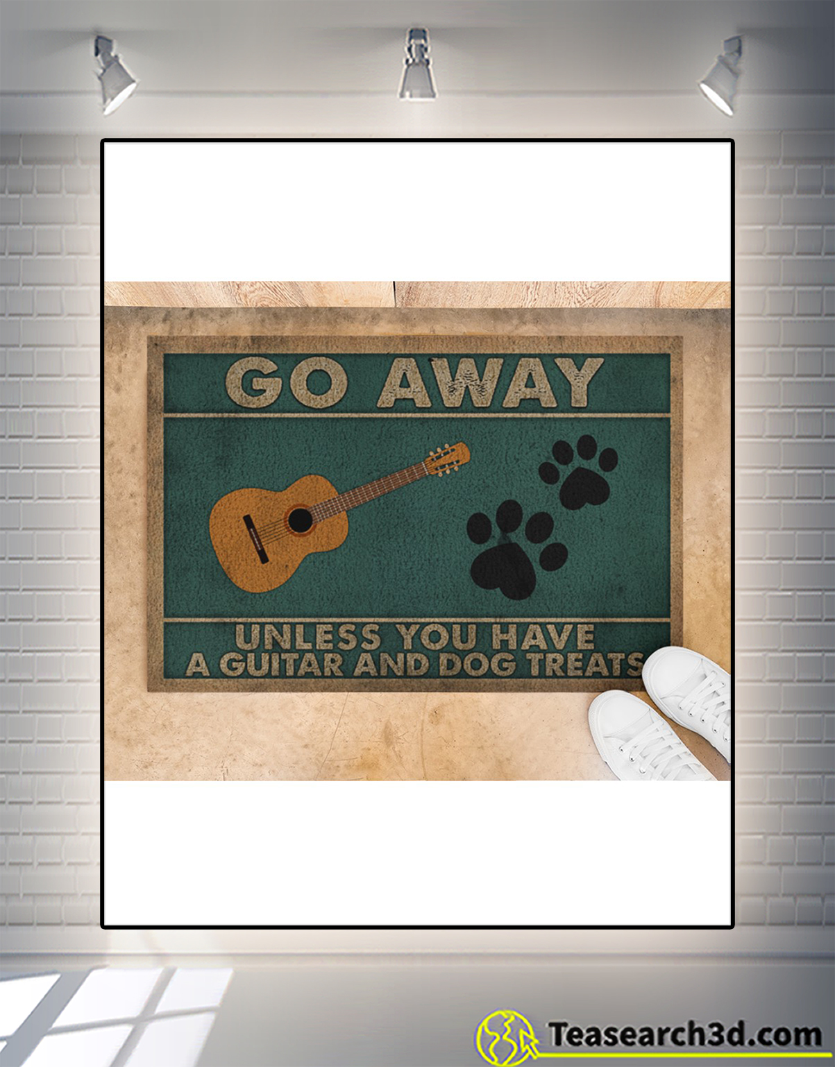 Go away unless you have a guitar and dog treats doormat 1