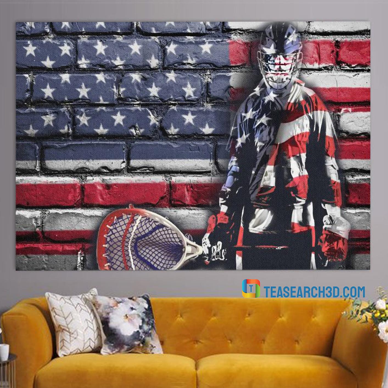 Goalie american flag hockey poster A1