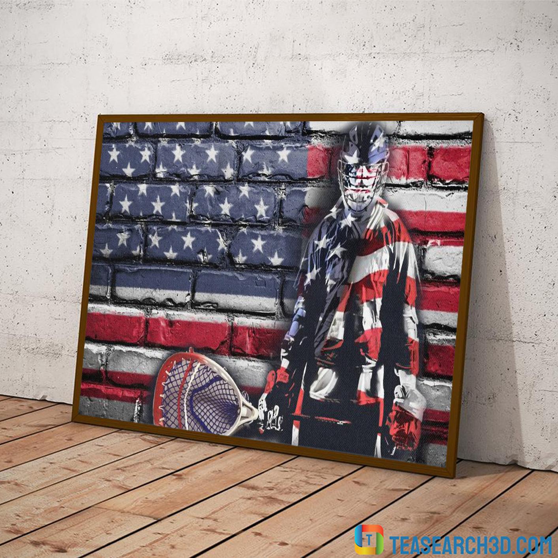 Goalie american flag hockey poster A2