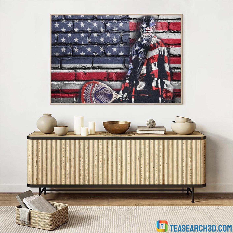 Goalie american flag hockey poster A3