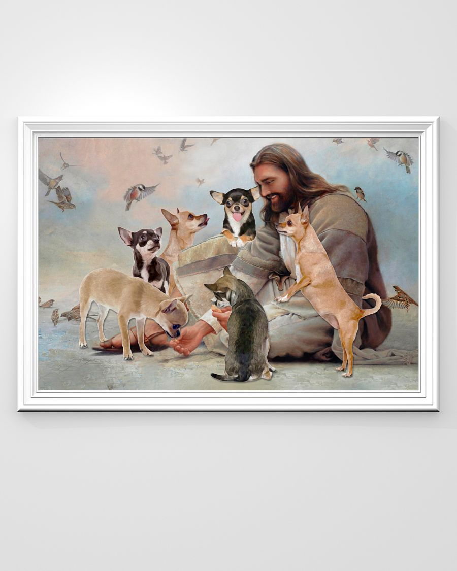 God surrounded by Chihuahua angels poster 1