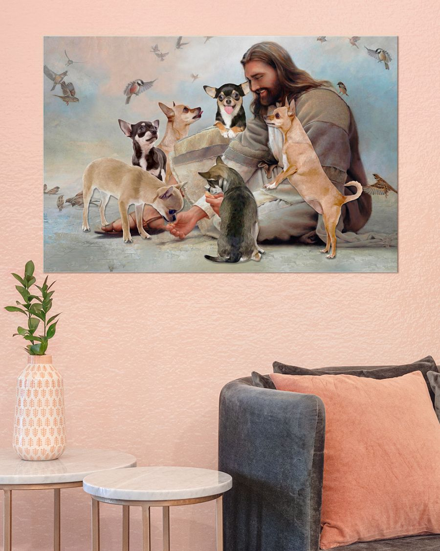 God surrounded by Chihuahua angels poster 2