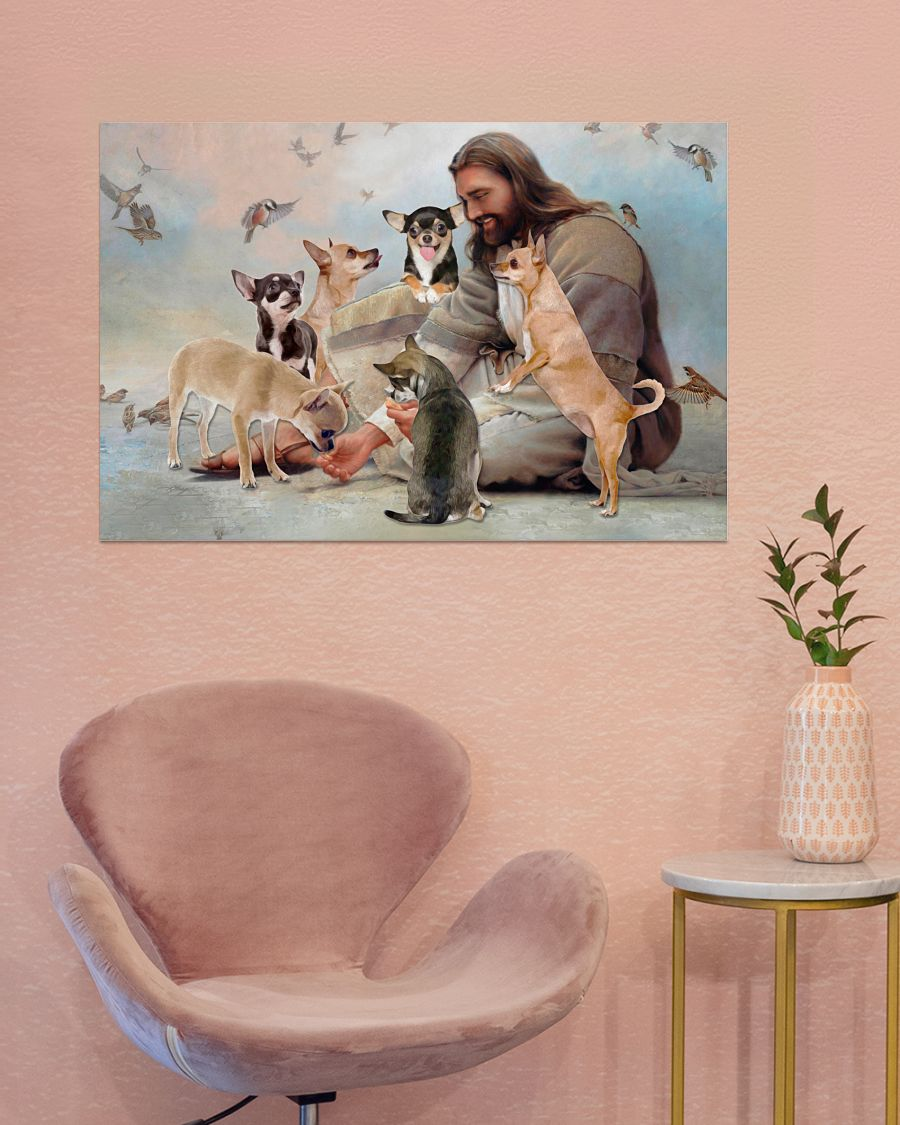 God surrounded by Chihuahua angels poster 3