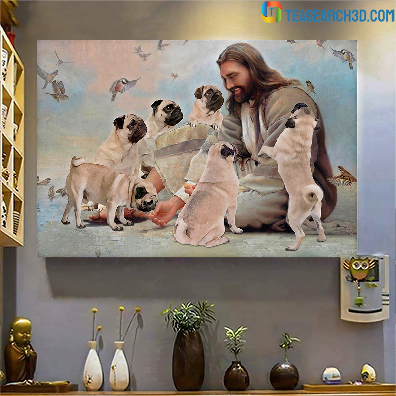 God surrounded by Pug angels poster A1