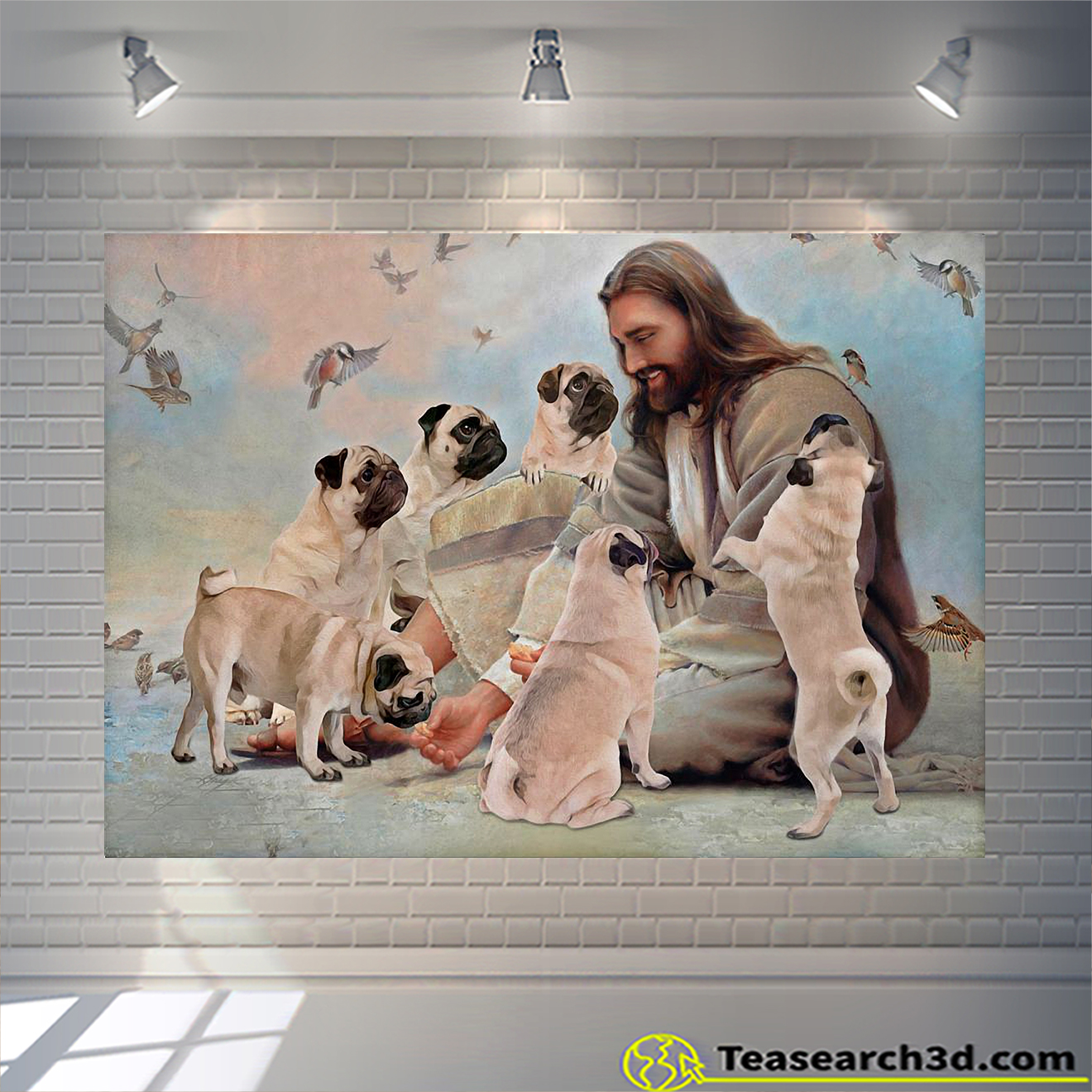 God surrounded by Pug angels poster A2