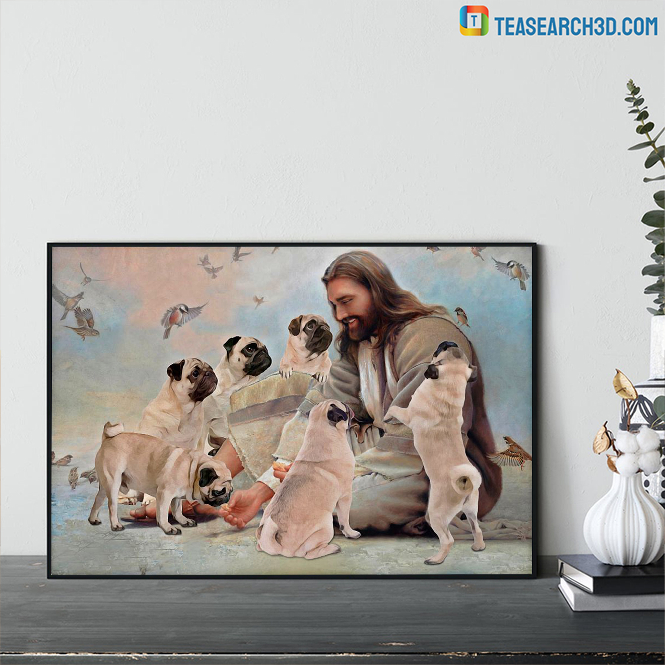 God surrounded by Pug angels poster A3